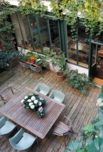 jardin terrasse bois et verriere