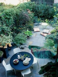 jardin à la végétation luxuriante